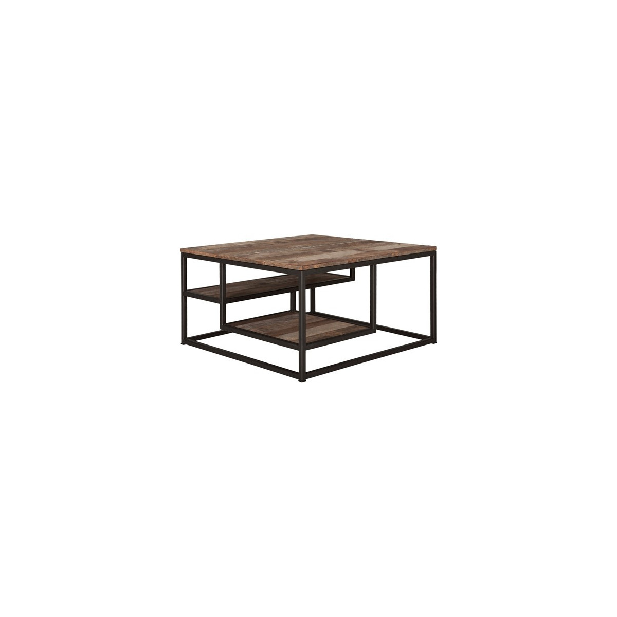 table basse tuareg en teck recycl 3 plateaux avec pi tement en m tal noir de la marque d bodhi. Black Bedroom Furniture Sets. Home Design Ideas