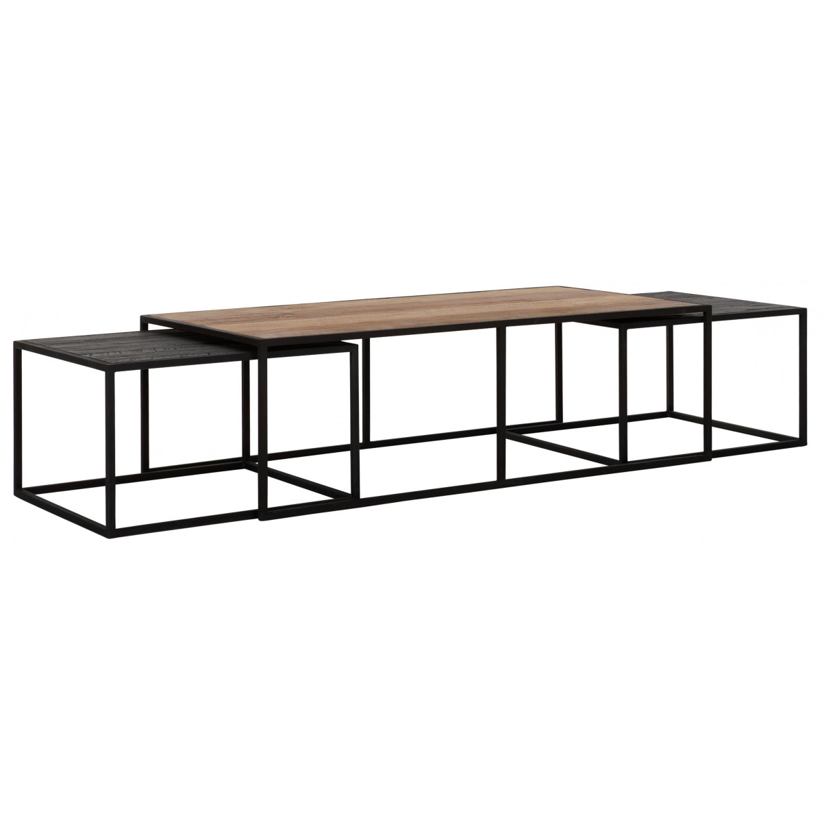 Cosmo Rectangular Teak And Iron Coffee Table Dtp Home Tentation