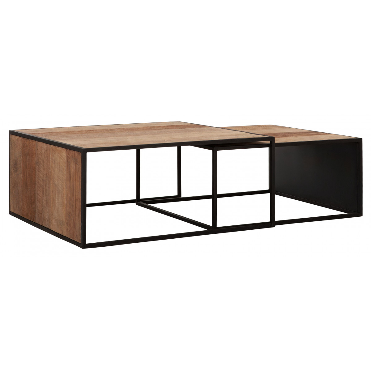 Cosmo Coffee Table Square In Teak And Iron Dtp Home Tentation