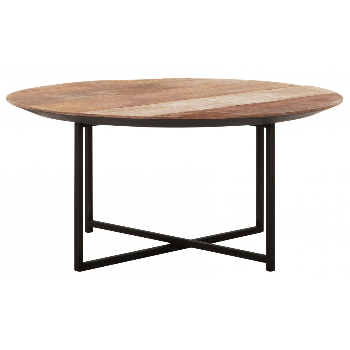 Cosmo Round Coffee Table In Teak And Iron Dtp Home Tentation