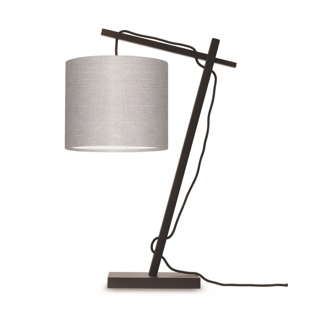 Lampe de table Andes en bambou noir et lin Gris clair