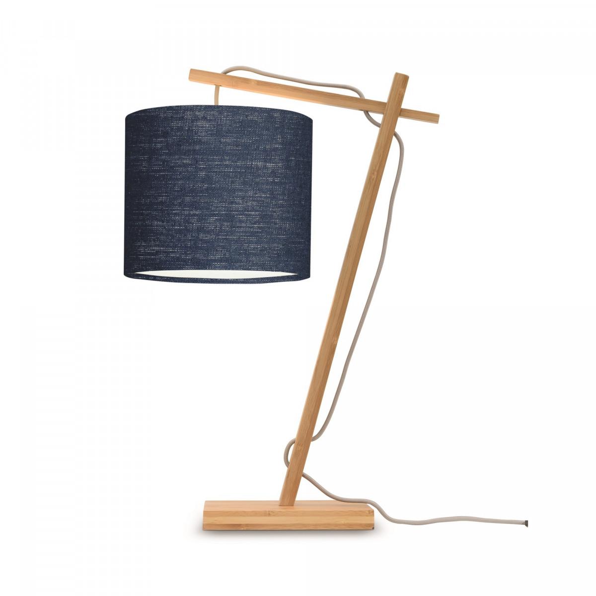 Lampe de table Andes en bambou naturel et lin Bleu denim