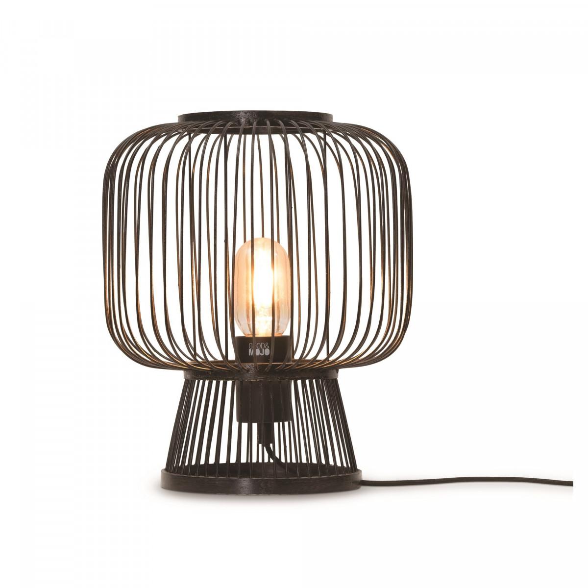Lampe de table Cango en bambou et fer Noirw