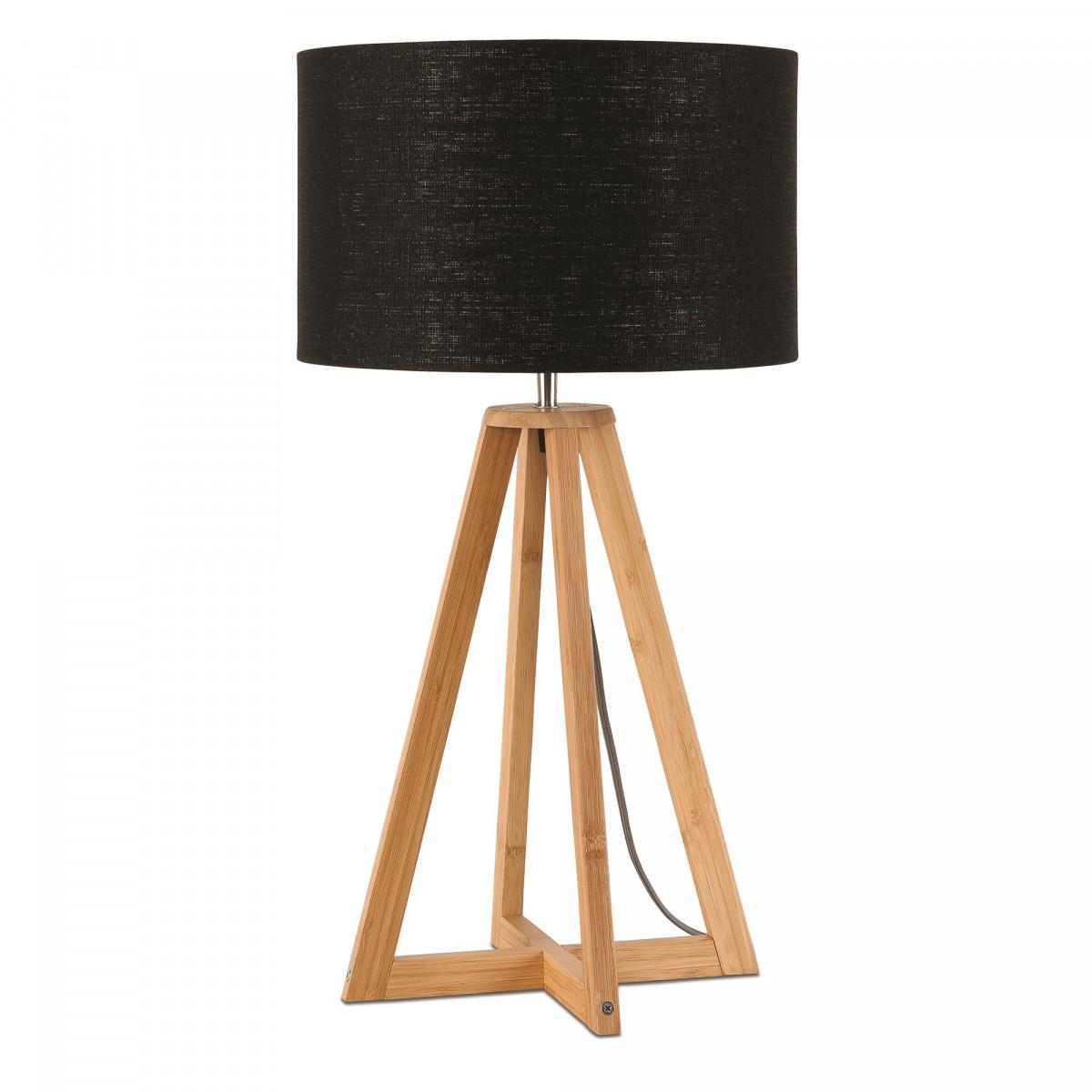 Lampe de table Everest en lin et bambou Noirw