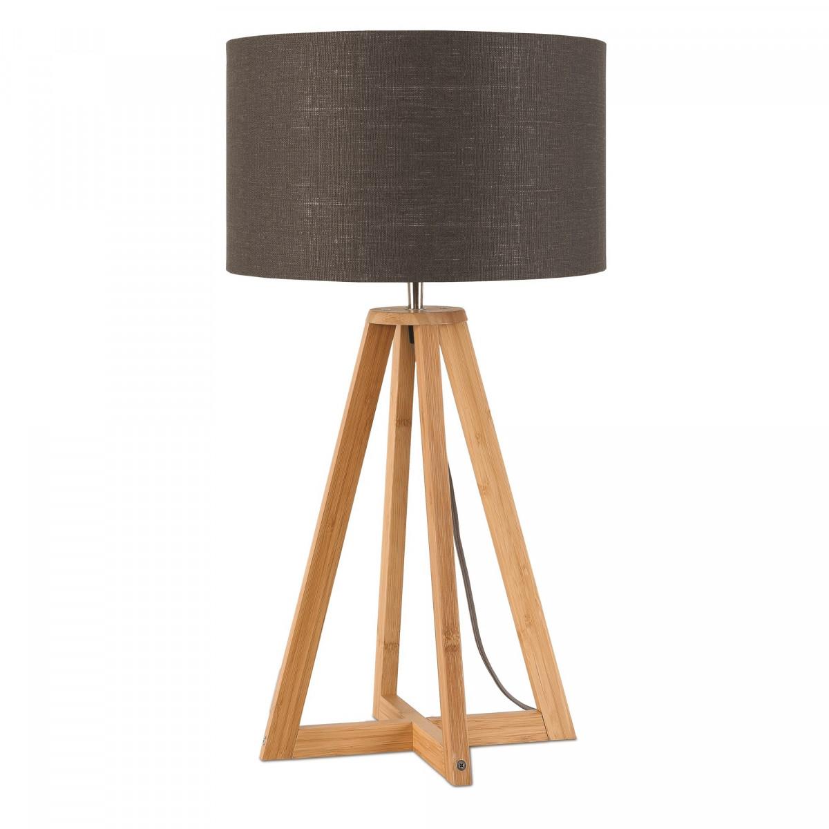 Lampe de table Everest en lin et bambou Gris foncéw
