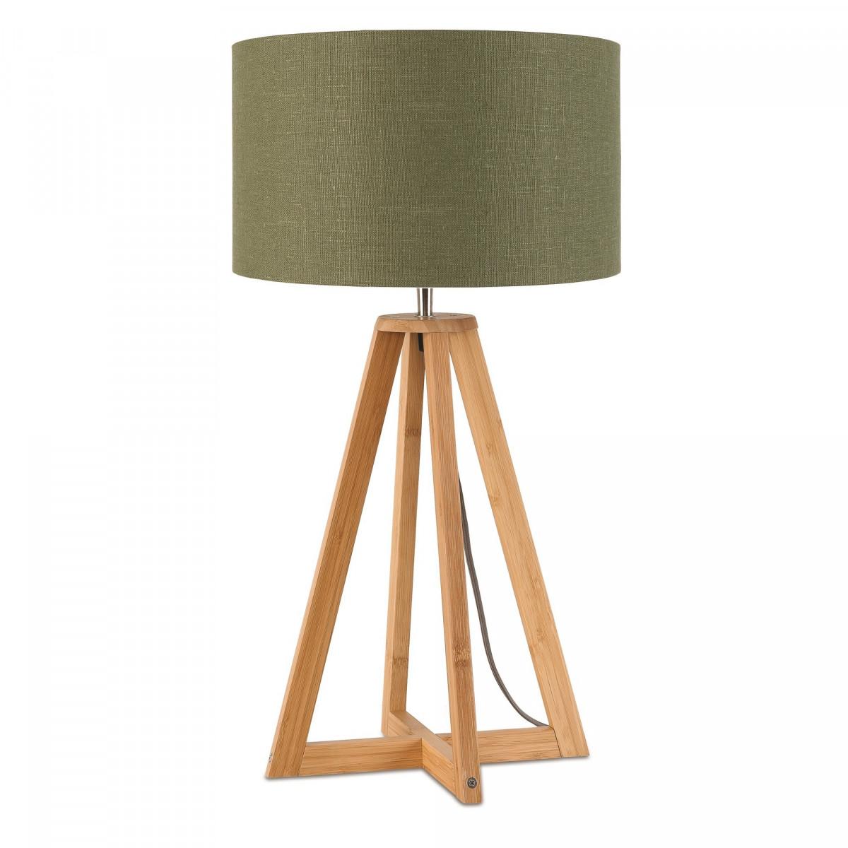 Lampe de table Everest en lin et bambou Vert forêtw