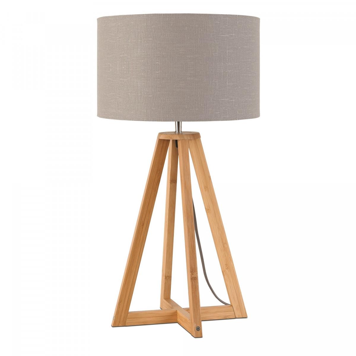 Lampe de table Everest en lin et bambou Gris clairw