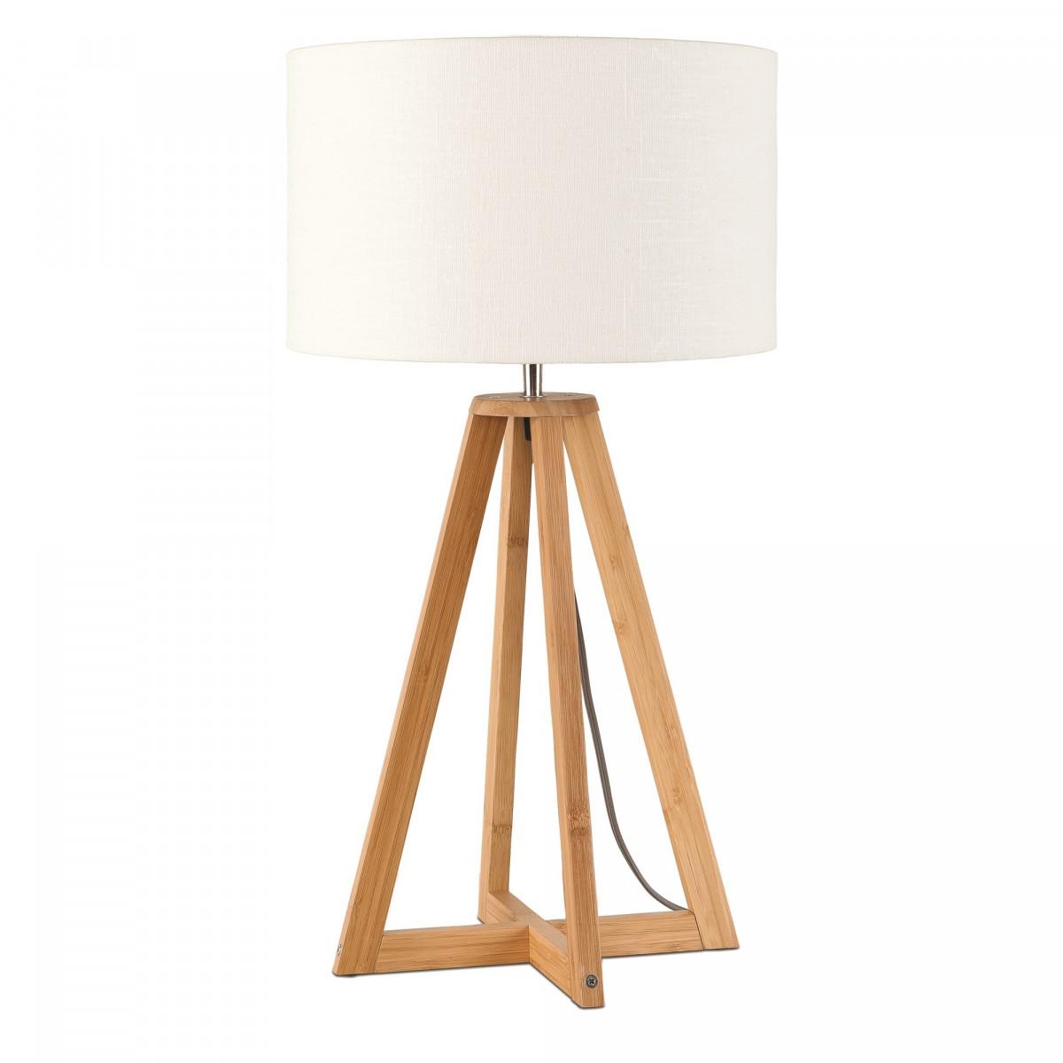 Lampe de table Everest en lin et bambou Blancw