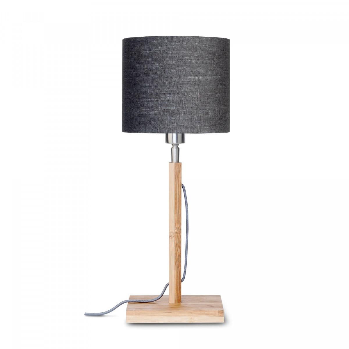 Lampe de table Fuji en bambou et lin Gris foncéw