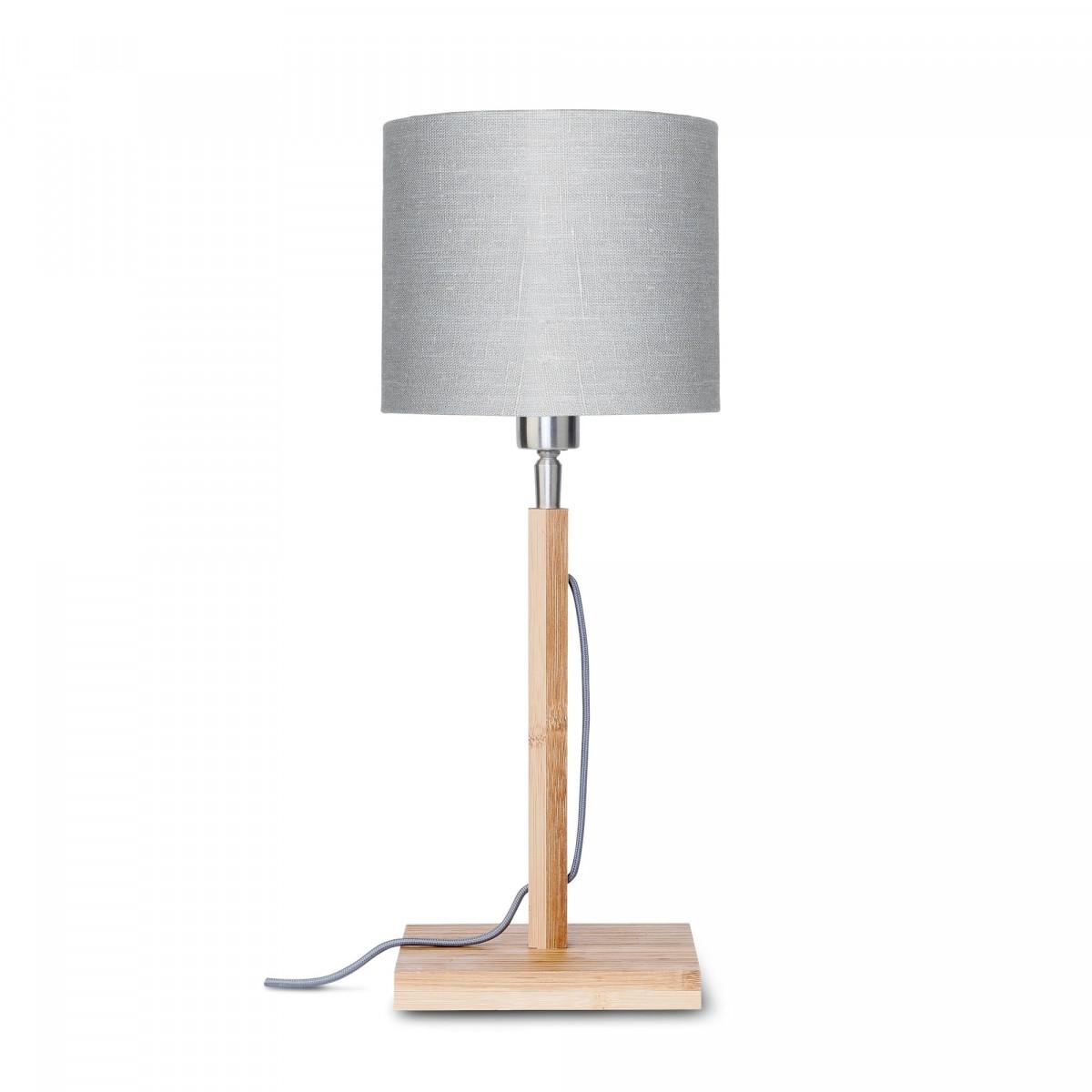 Lampe de table Fuji en bambou et lin Gris clairw