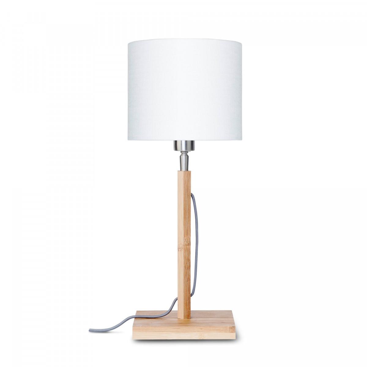 Lampe de table Fuji en bambou et lin Blancw