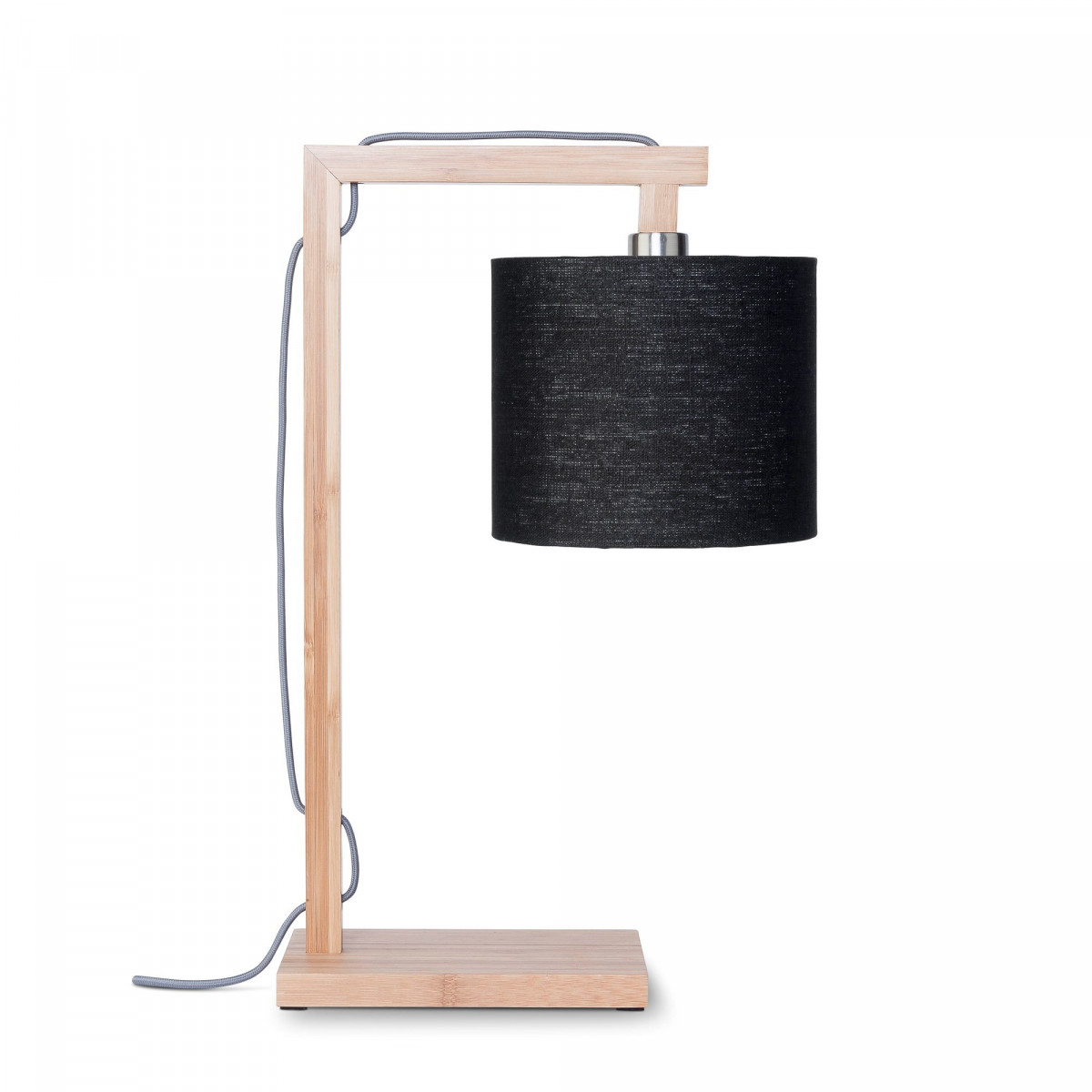 Lampe de table Himalaya en lin et bambou Noirw