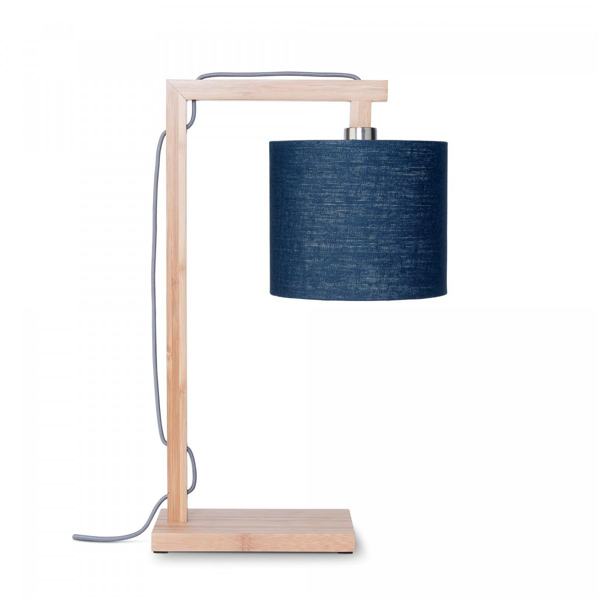 Lampe de table Himalaya en lin et bambou Bleu denimw