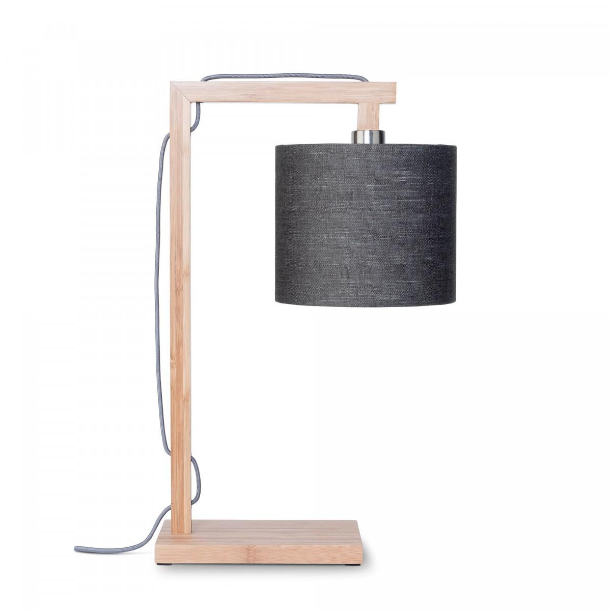 Lampe de table Himalaya en lin et bambou Gris foncéw