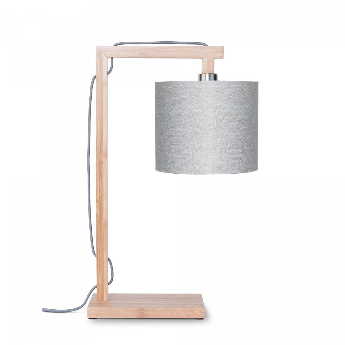 Lampe de table Himalaya en lin et bambou Gris clairw