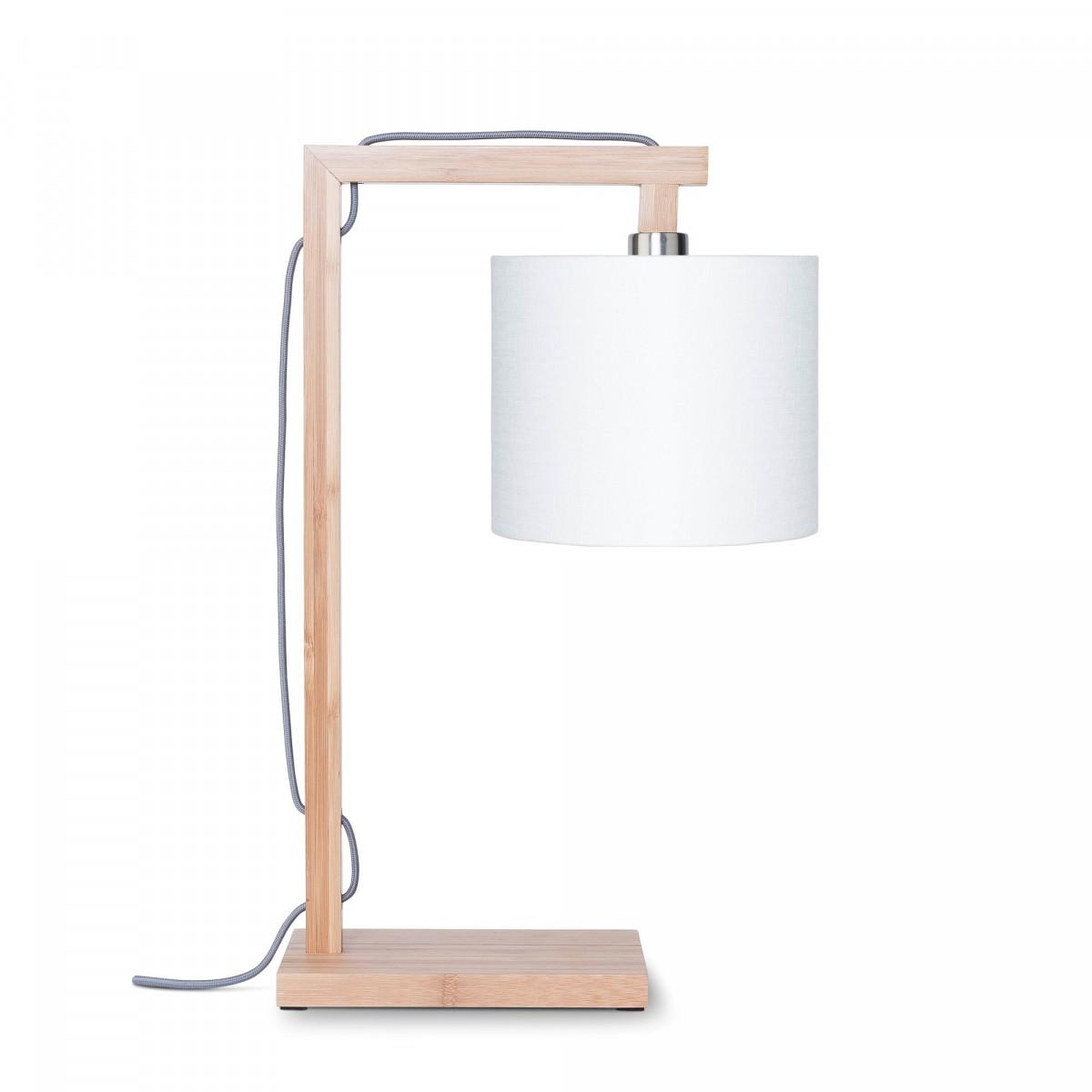 Lampe de table Himalaya en lin et bambou Blancw