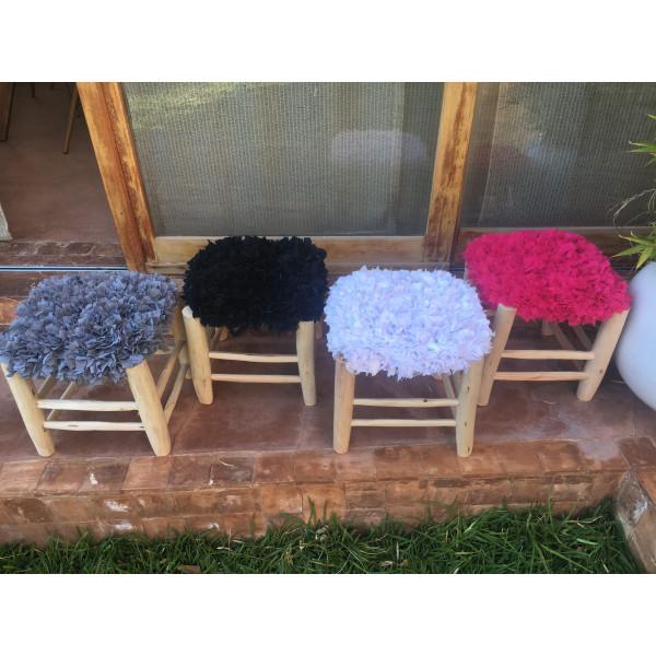 tabouret marocain frou frou blanc. Black Bedroom Furniture Sets. Home Design Ideas