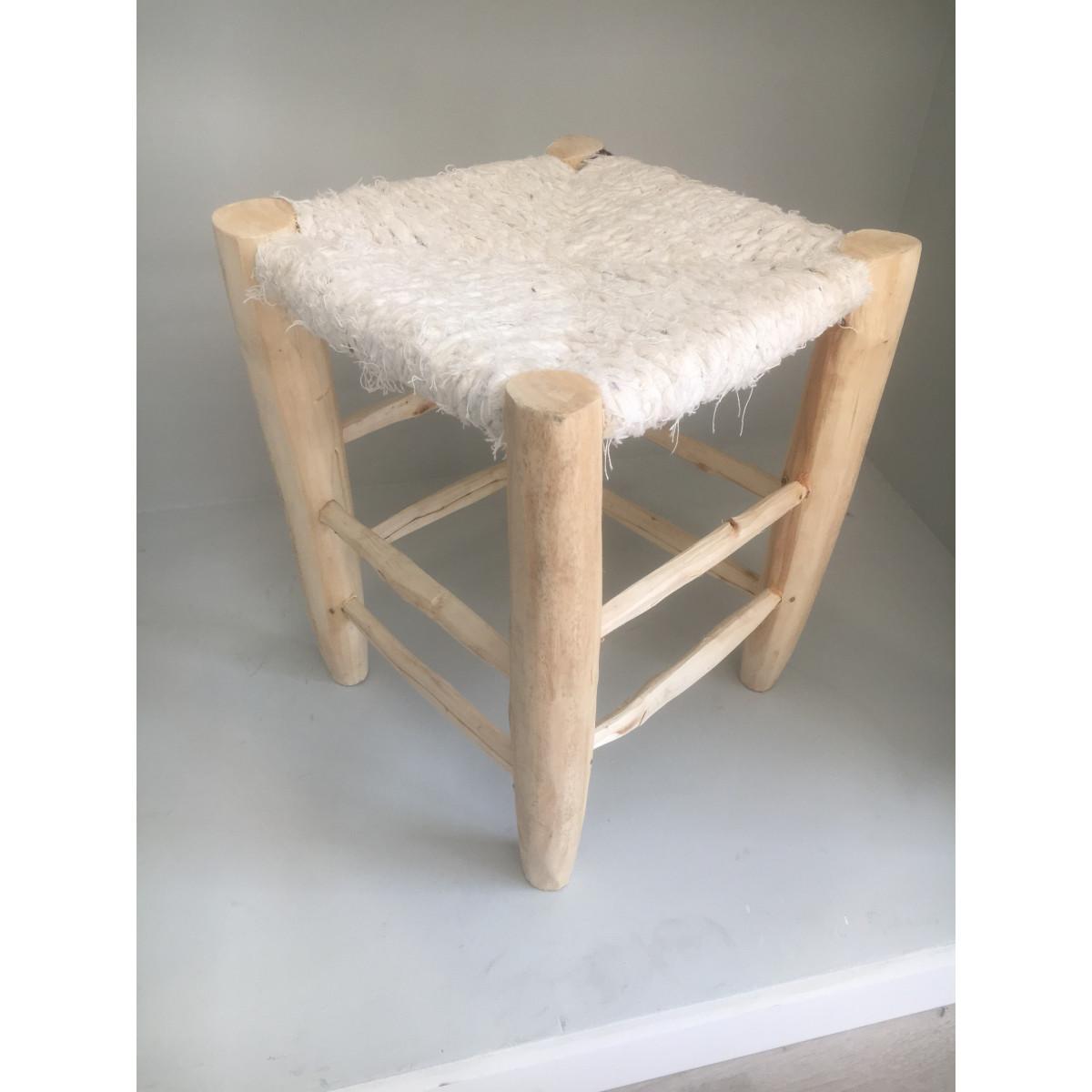 tabouret marocain tiss blanc. Black Bedroom Furniture Sets. Home Design Ideas